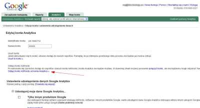 Rozłączanie konta AdWords - link w interfejsie