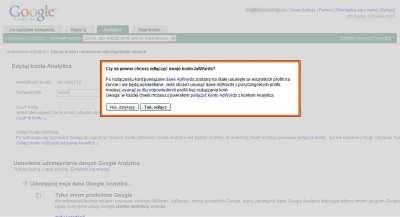 Ostrzeżenie o skutkach rozlinkowania konta Google AdWords i Google Analytics