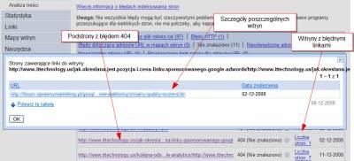 Narzędzia dla Webmasterów - Szczegóły błędów 404
