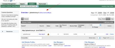 Ustawienia konta Google Analytics w koncie Google AdWords
