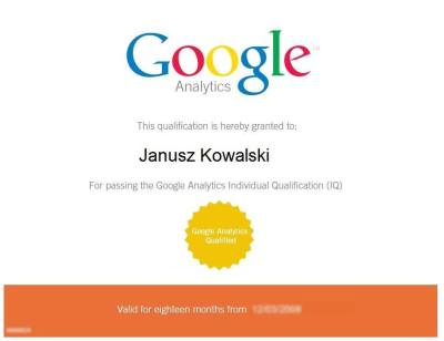 Certyfikat Google Analytics Individual Qualification