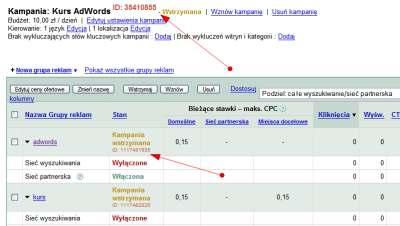 Identyfikatory w kampanii Google AdWords - grupa reklamowa i kampania