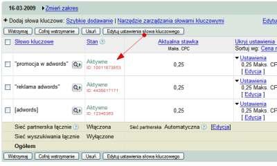 id slowa kluczowe 2 Identyfikatory w kampaniach Google AdWords