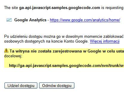Dostep do danych Google Analytics