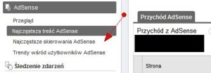 Adsense w interfejsie Google Analytics