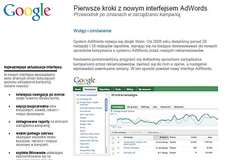 Nowy interfejs Google Adwords