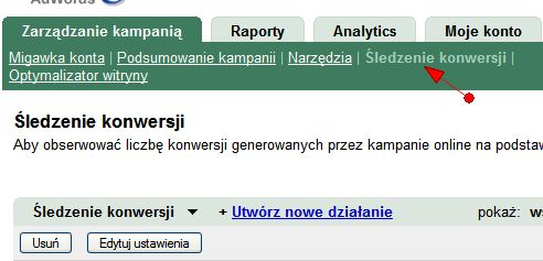 Konwersje w interfejsie Google AdWords