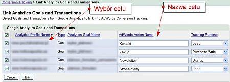 Wybierz cele lub transakcje, które mają być przekazywane z konta Google Analytics do interfejsu Google AdWords