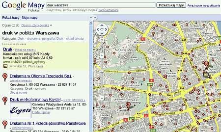 Rozrzeszenia adwords w wynikach Google Maps