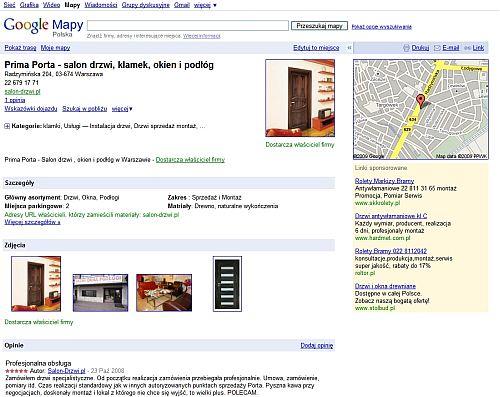 centrum firm lokalnych Unikalne podstrony miejsc w mapach Google