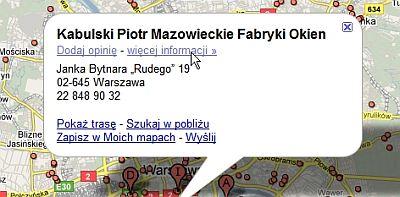 dane firmy Unikalne podstrony miejsc w mapach Google