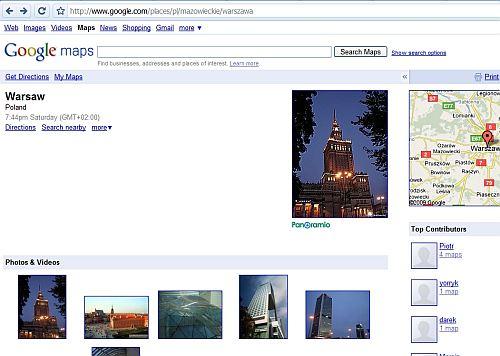 dane warszawa Unikalne podstrony miejsc w mapach Google