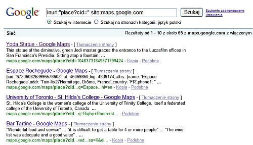 indeksacja wynikow centrum firm Unikalne podstrony miejsc w mapach Google