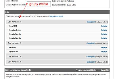 Grupy celow w Google Analytics