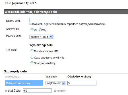 Strony na odwiedziny jako cel w Google Analytics