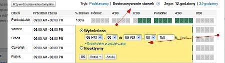 adwords zaawansowany harmonogram Niestandardowe formy optymalizacji widoczności w Google AdWords