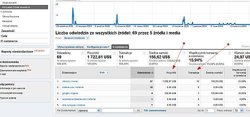 Śledzenie ecommerce w źródłach odwiedzin w Google Analytics