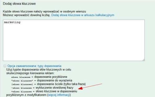 modyfikator dopasowania 2 Modyfikator dopasowania przybliżonego   nowa funkcja słów kluczowych w AdWords