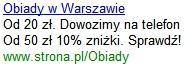 Przykład reklamy Google AdWords - tekst reklamowy