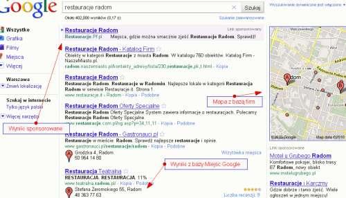Wizytówki firm w mapach Google
