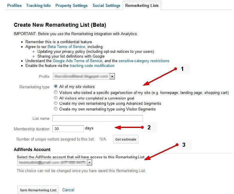 Listy remarketingowe w Google Analytics
