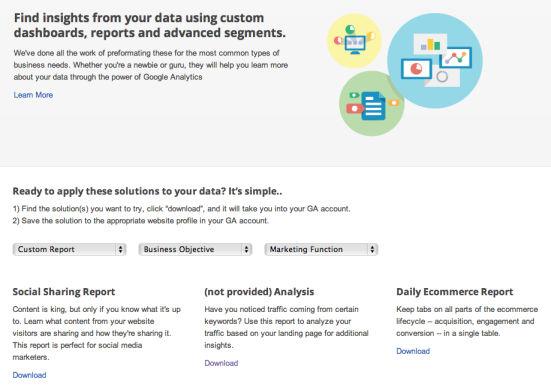 google analytics galeria Szukasz dobrych raportów w Google Analytics? Wykorzystaj Galerię Rozwiązań Google Analytics!