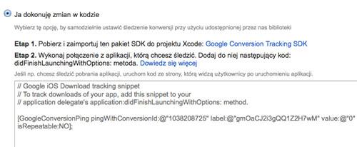 sledzenie aplikacji ios kod Śledzenie pobrań aplikacji w kampaniach AdWords