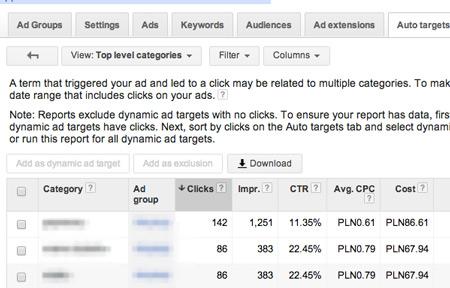 dsa raporty kategorie2 Optymalizacja reklam dynamicznych DSA