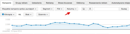 Adwords kolumny w interfejsie AdWords