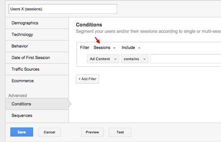 Segmentacja na podstawie sesji w Google Analytics
