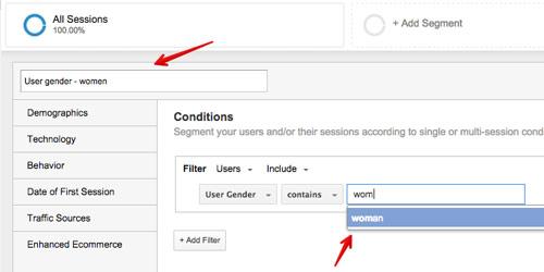 Przykład segmentacji Google Analytics