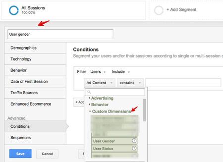 Przykład segmentacji w Google Analytics