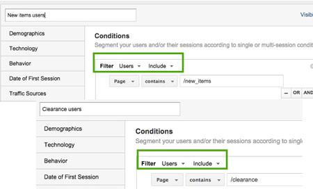 Przykład segmentacji w Google Analytics na poziomie użytkownika