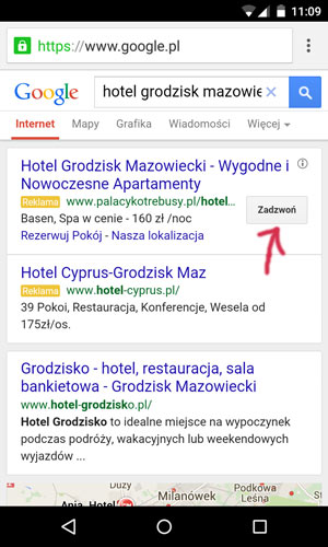 Mobilne wyniki wyszukiwania w Google