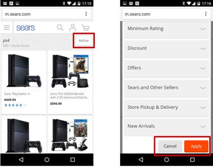 filtry wyszukiwania na mobile